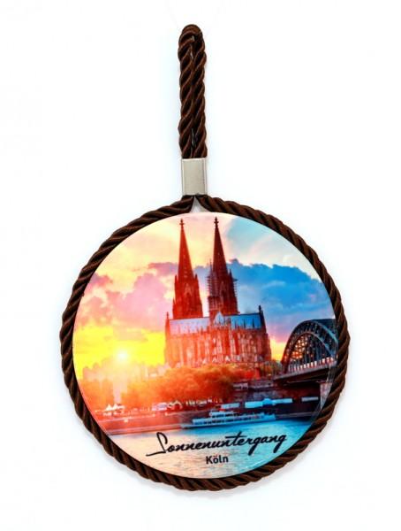 Wandteller mit Kordel Sonnenuntergang Köln
