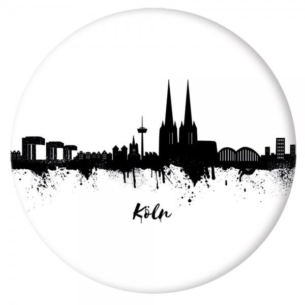 Button Köln Skyline, weiß/schwarz