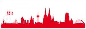 Autoaufkleber Kölner Skyline, rot