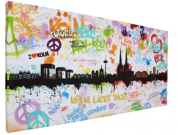 Leinwand Bild Köln Skyline Tags by Hero Art