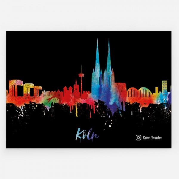 Aufkleber Köln Skyline neon