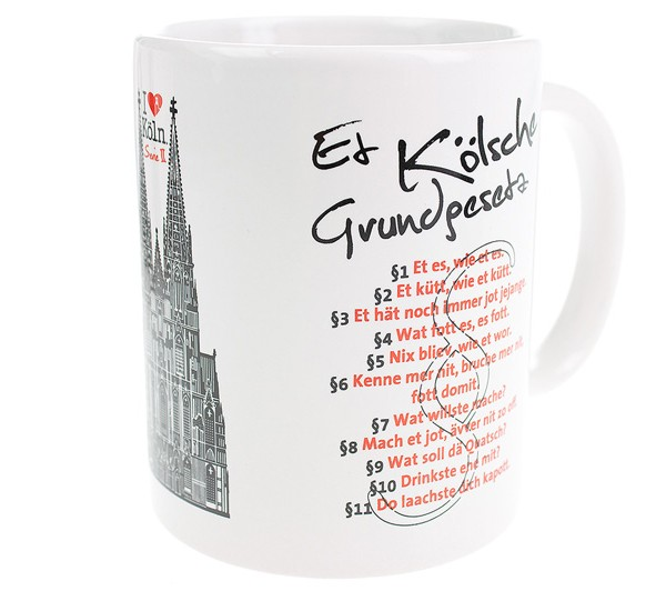 """I love Köln"" Tasse mit Kölschem Grundgesetz"