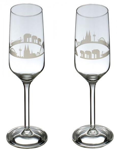 Sektglas mit der Kölner Skyline