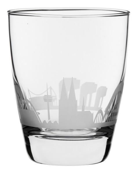 Wasserglas Kölner Skyline, im Set zum Top-Preis