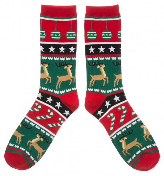 Weihnachtssocken Rentiere, grün/rot
