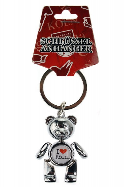 Schlüsselanhänger I love Köln Teddy, weiß