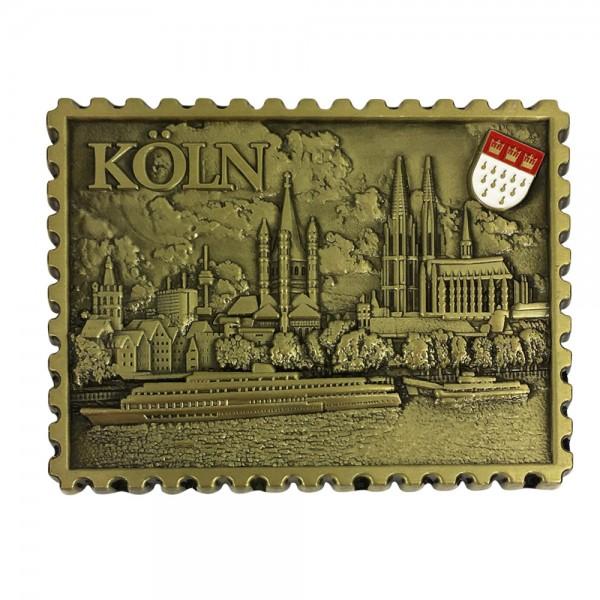 """Magnet """"Briefmarke Stadtansicht Köln"""" aus Metall, gold"""