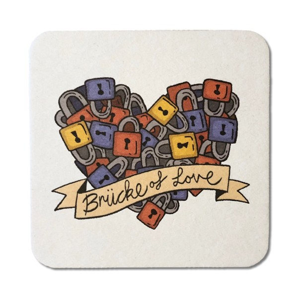 Bierdeckel-Postkarte Brücke of Love
