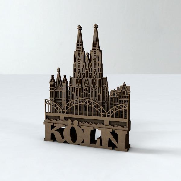 Köln Silhouette aus Holz