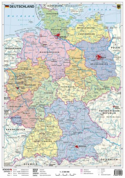 Handkarte Deutschland politisch, 42 cm x 30 cm