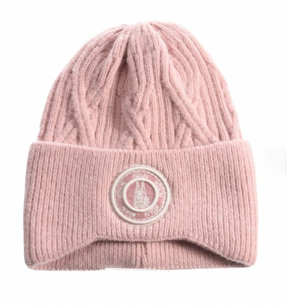 Köln Strickmütze, rosé /weiß