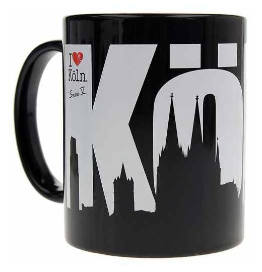 Kaffeetasse mit Kölner Skyline, schwarz-weiß