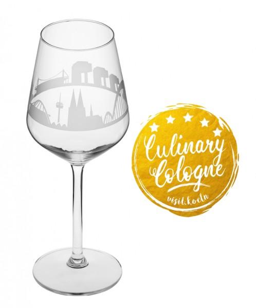 Weinglas mit der Kölner Skyline, im Set zum Top-Preis!
