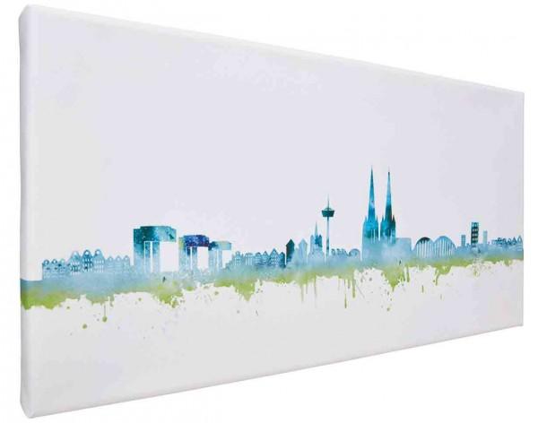 Leinwand Bild Köln Skyline blue