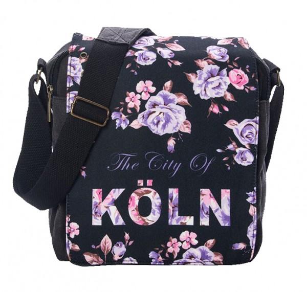 Umschlagtasche Flower, schwarz
