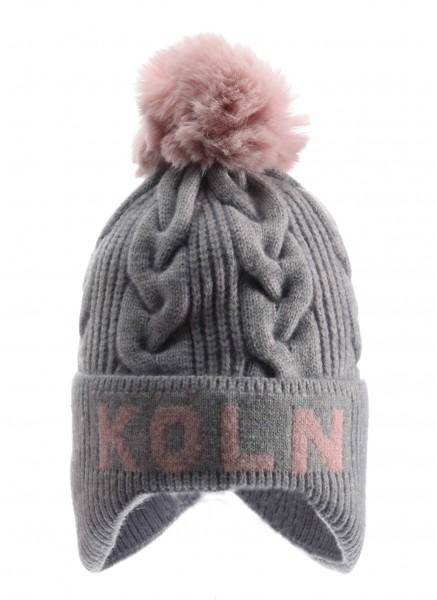 Köln Bommelmütze, grau /rosé