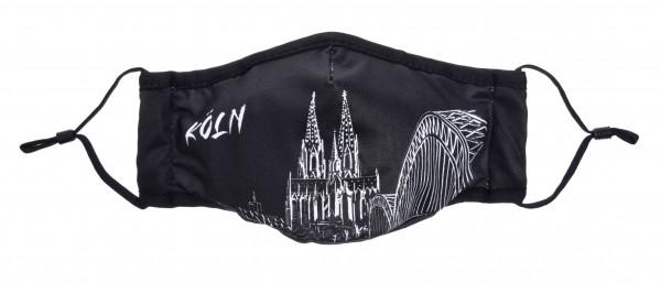 Köln Maske - Motiv Brücke Mikrofaser (2er Set) schwarz