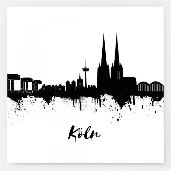 Aufkleber Kölner Skyline, weiß/schwarz