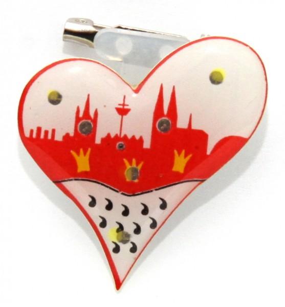 Blinkender Herz Pin mit Kölner Skyline