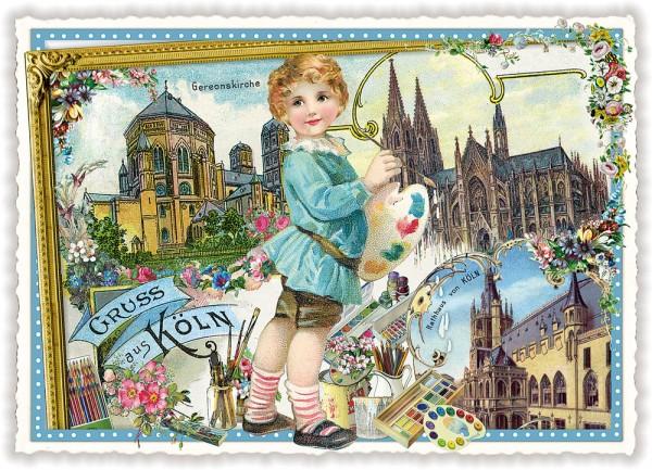 Nostalgische Postkarte Gereonskirche