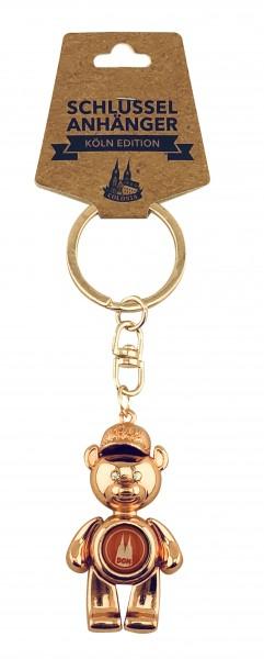 Schlüsselanhänger Bär mit Cap, Kupfer und Titan