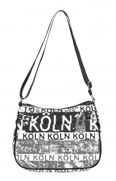 Schultertasche Köln schwarz/weiß