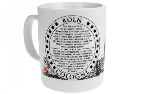 """I love Köln"" Kaffeetasse mit Kölner Dom Motiv"