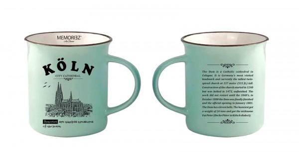 Kaffeetasse mit Kölner Dom in mint, Englisch