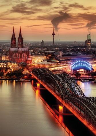 Köln Poster - Dom & Hohenzollernbrücke Abenddämmerung
