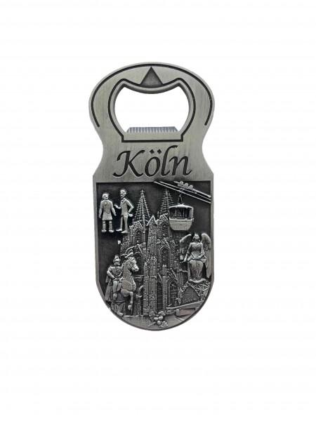 Flaschenöffner-Magnet 3D Reliefbild Köln, silber