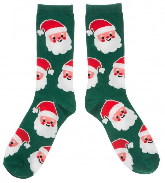 Weihnachtssocken Weihnachtsmann, grün