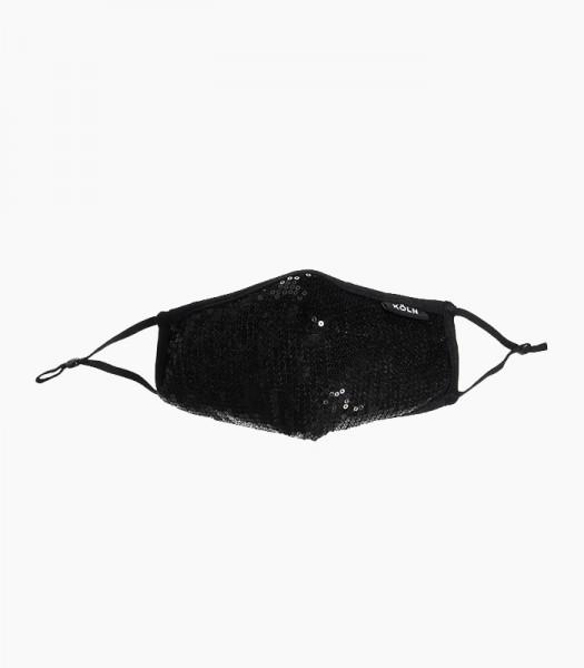 Maske Pailetten, schwarz