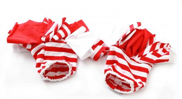 Ringel Handstulpen Lappen-Clown, rot/weiß
