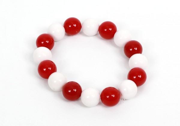 Armband Perlen rot/weiß