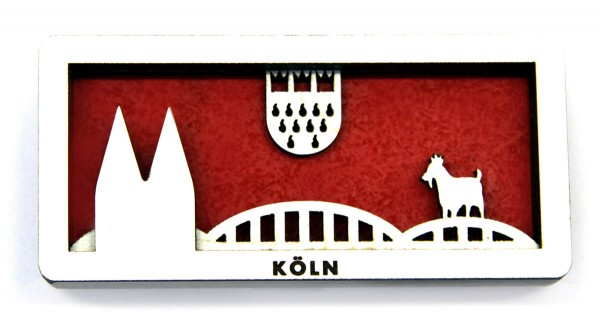 "3D Holzmagnet ""Kölner Dom und Hohenzollernbrücke"""