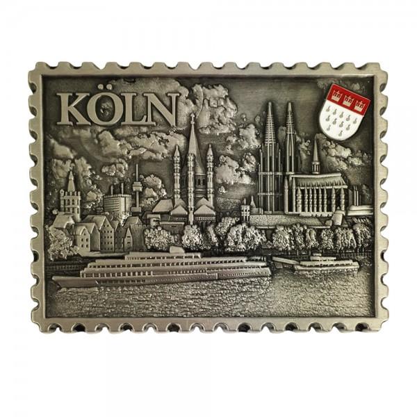 """Magnet """"Briefmarke Stadtansicht Köln"""" aus Metall, silber"""