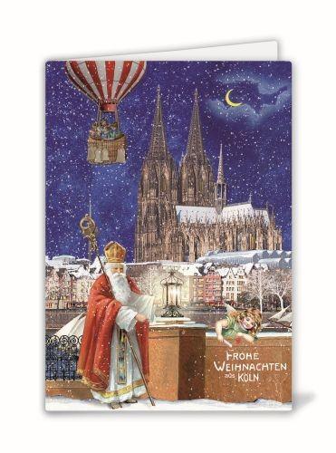 Weihnachtsklappkarte: Nikolaus am Rhein