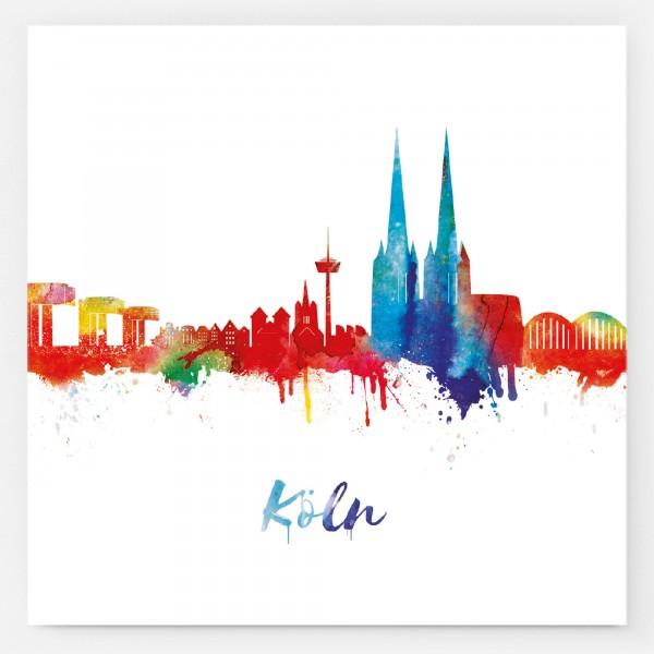 Aufkleber Kölner Skyline, weiß/neon