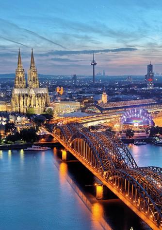 Köln Poster - Dom & Hohenzollernbrücke Morgendämmerung
