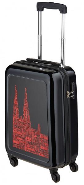 Köln Koffer schwarz / rot mit 4 Rollen