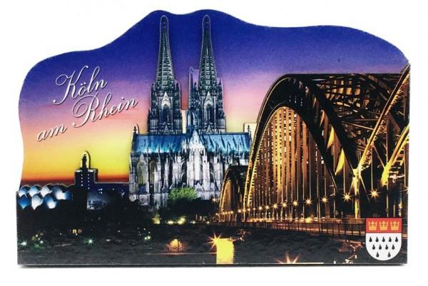Magnet Kölner Dom und Hohenzollernbrücke Nacht