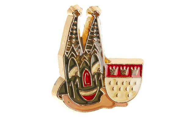 Pin mit lachendem Kölner Dom