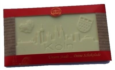 Schokolade Kölner Skyline, weiße Schokolade