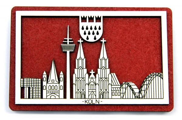3D Holzmagnet Köln Skyline