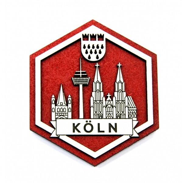 3D Hexagon Holzmagnet Köln Skyline