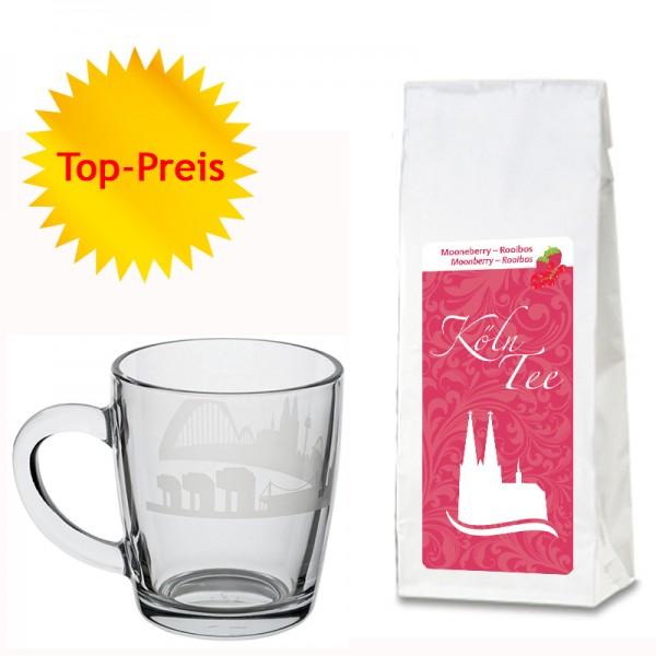 Geschenkset Moonberry-Tee und edle Glas-Tasse mit Kölner Skyline
