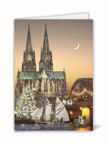 Weihnachtsklappkarte: Kölner Dom, Hohenzollernbrücke und Rhein