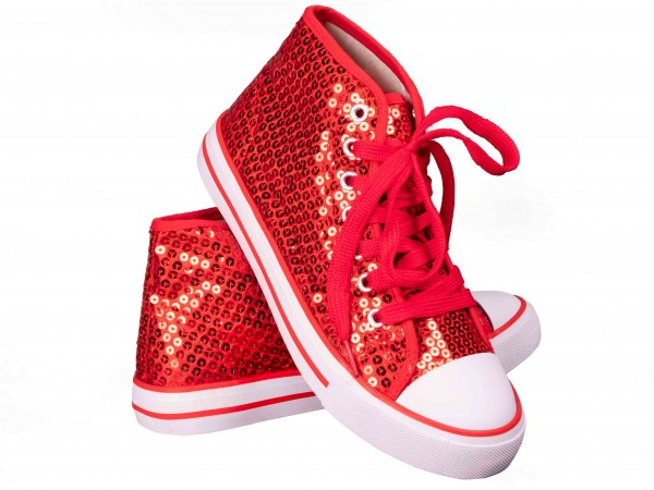 Pailletten Schuhe rot-weiß