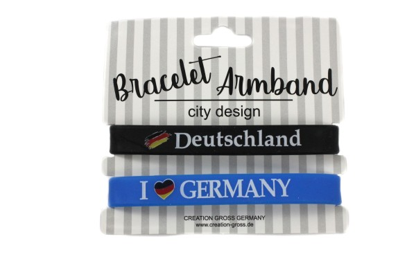 "Silikonarmband ""Deutschland"" 2er Set, schwarz/blau"