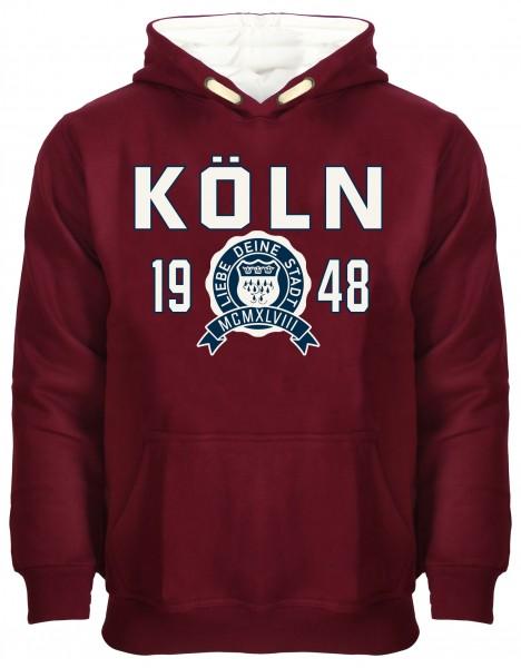 Köln College Hoodie, bordeaux / weiß